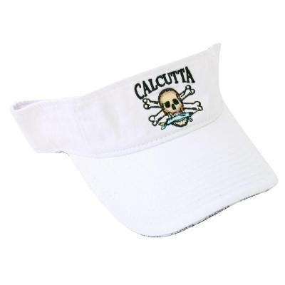 Adjustable Strap Low Profile Visor in White with Fade-Resistant Logo