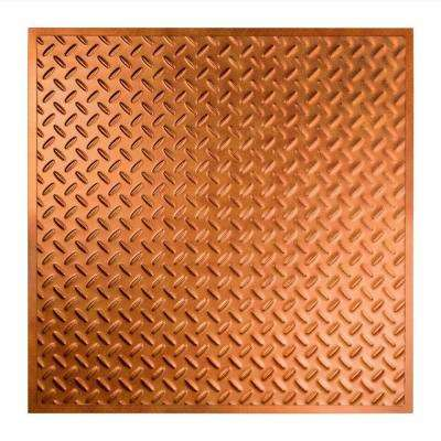 Diamond Plate - 2 ft. x 2 ft. Revealed Edge Lay-in Ceiling Tile in Antique Bronze