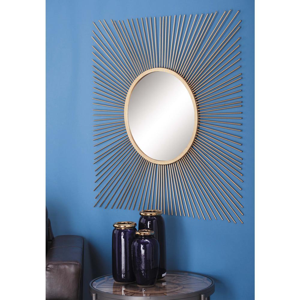 40 in. Natural Gold Sunburst Square Framed Mirror