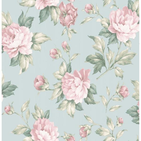Muted Blue And Floral Red: Brewster Catherine Light Blue Floral Wallpaper 2734-003503
