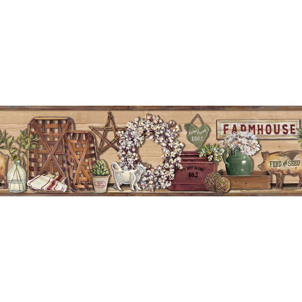 York Wallcoverings Farmhouse Shelf Wallpaper Border