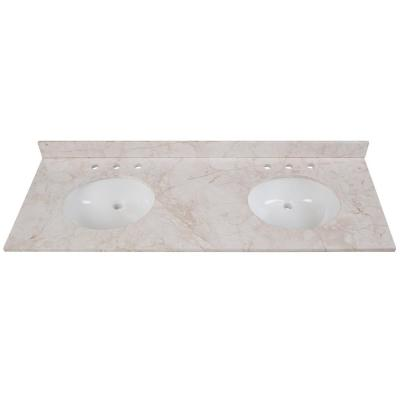 61 in. W x 22 in. D Stone Effects Double Sink Vanity Top in Dune with White Sinks