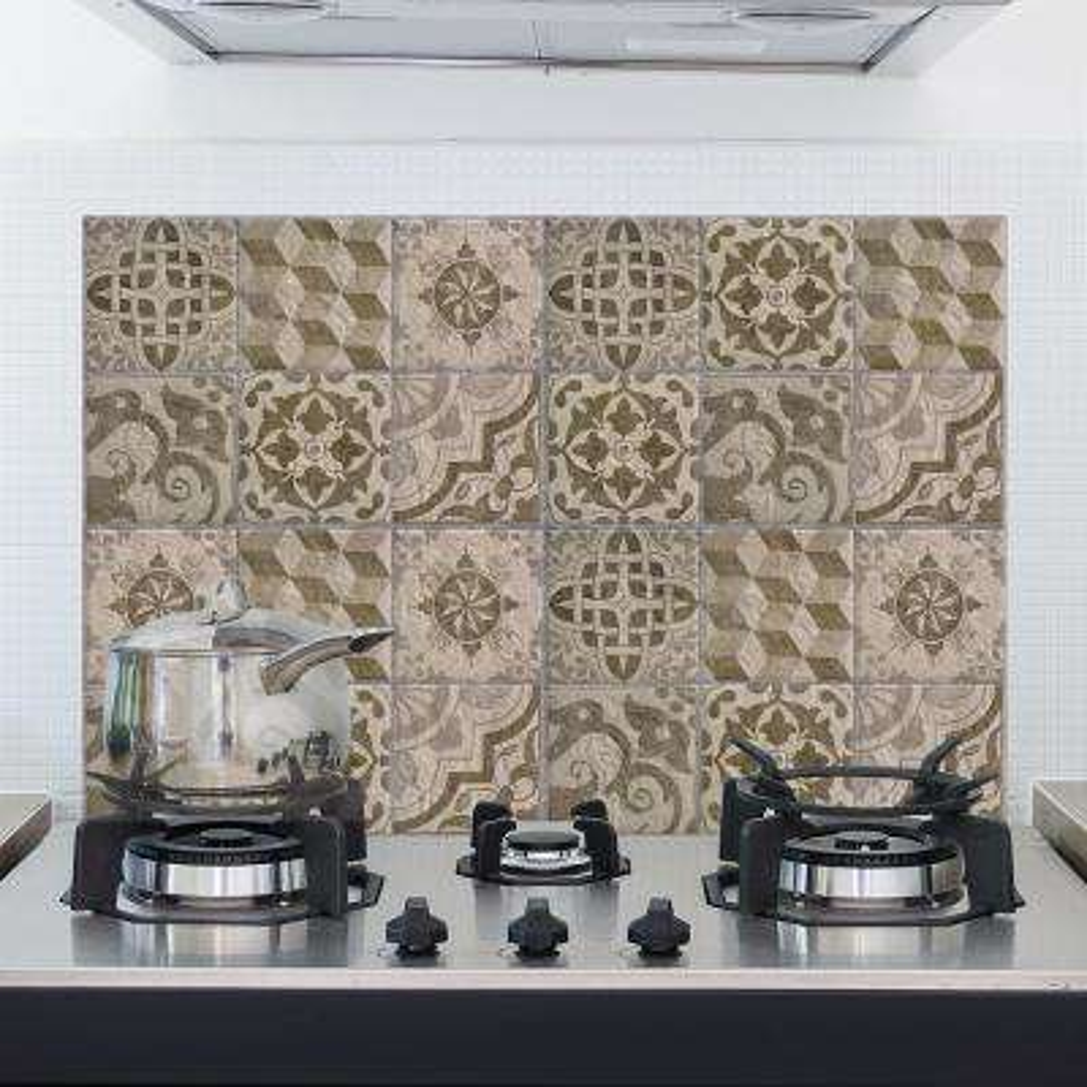 25.6 in. x 18.6 in. Brown Beije Azulejos Kitchen Panel