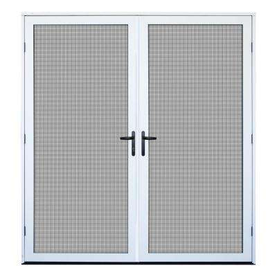 72 in. x 80 in. White Recessed Mount Meshtec Ultimate Screen Door