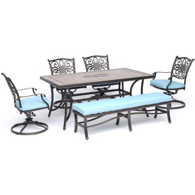 Monaco 6-Piece Aluminum Outdoor Dining Set with Blue Cushions with Cushioned Bench and Tile-Top Table