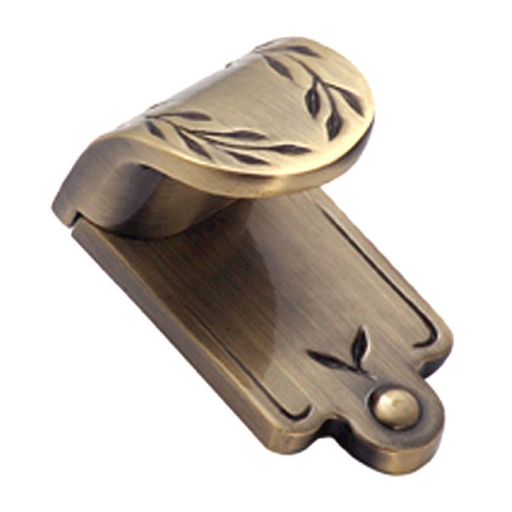 Inspirations 1 in. Elegant Brass Leaf Finger Pull