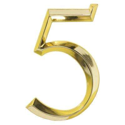 Classic 6 in. Polished Brass Number 5
