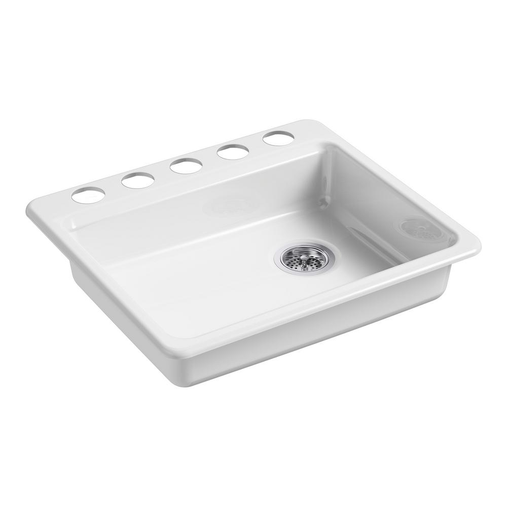 KOHLER Riverby Undermount Cast Iron 25 in. 5-Hole Single Basin ...