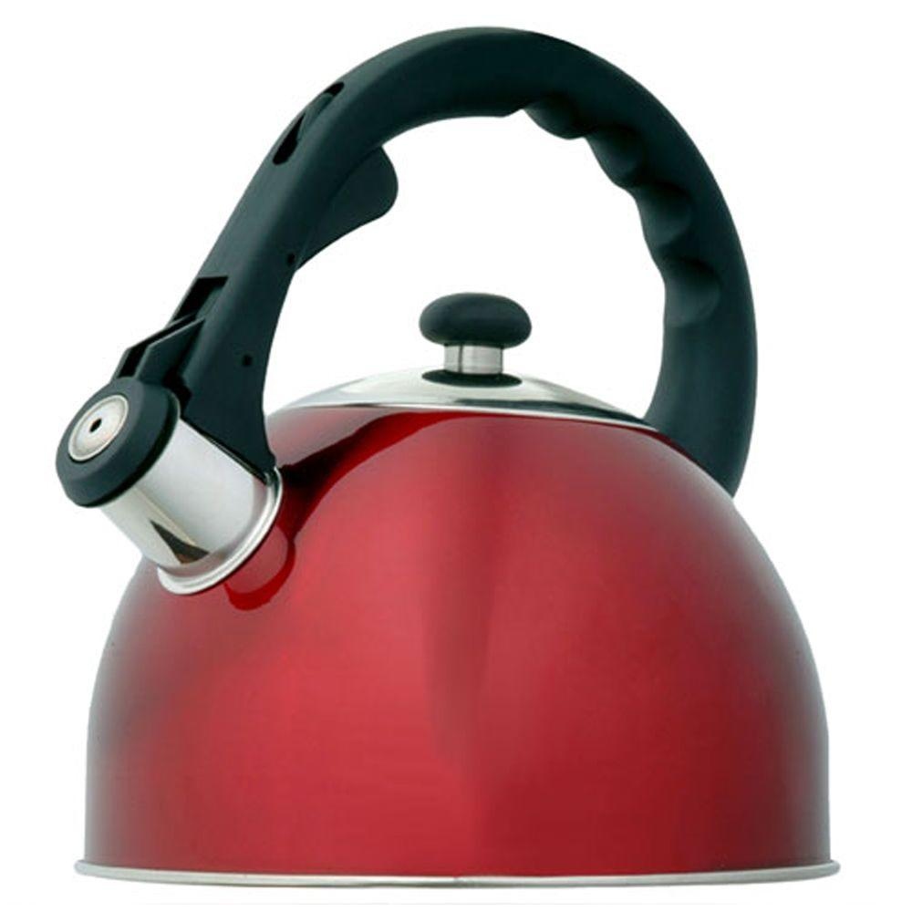Creative Home Satin Splendor 11.2-Cup Stovetop Tea Kettle in Cranberry
