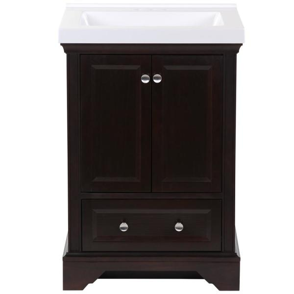 Stratfield 25 in. W x 22 in. D Bath Vanity in Chocolate with Cultured Marble Vanity Top in White with White Sink