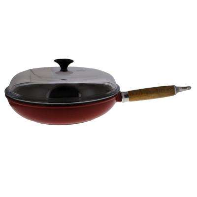 11 in. Red French Enameled Cast Iron Fry Pan with Wooden Handle and Glass Lid
