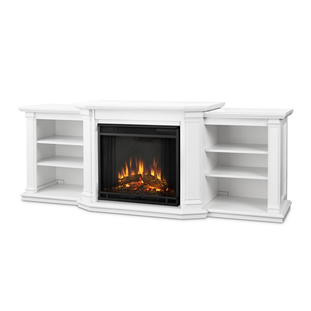 Warm up your living room by using this Real Flame Valmont Entertainment Center Electric Fireplace in White. Comes with firebox