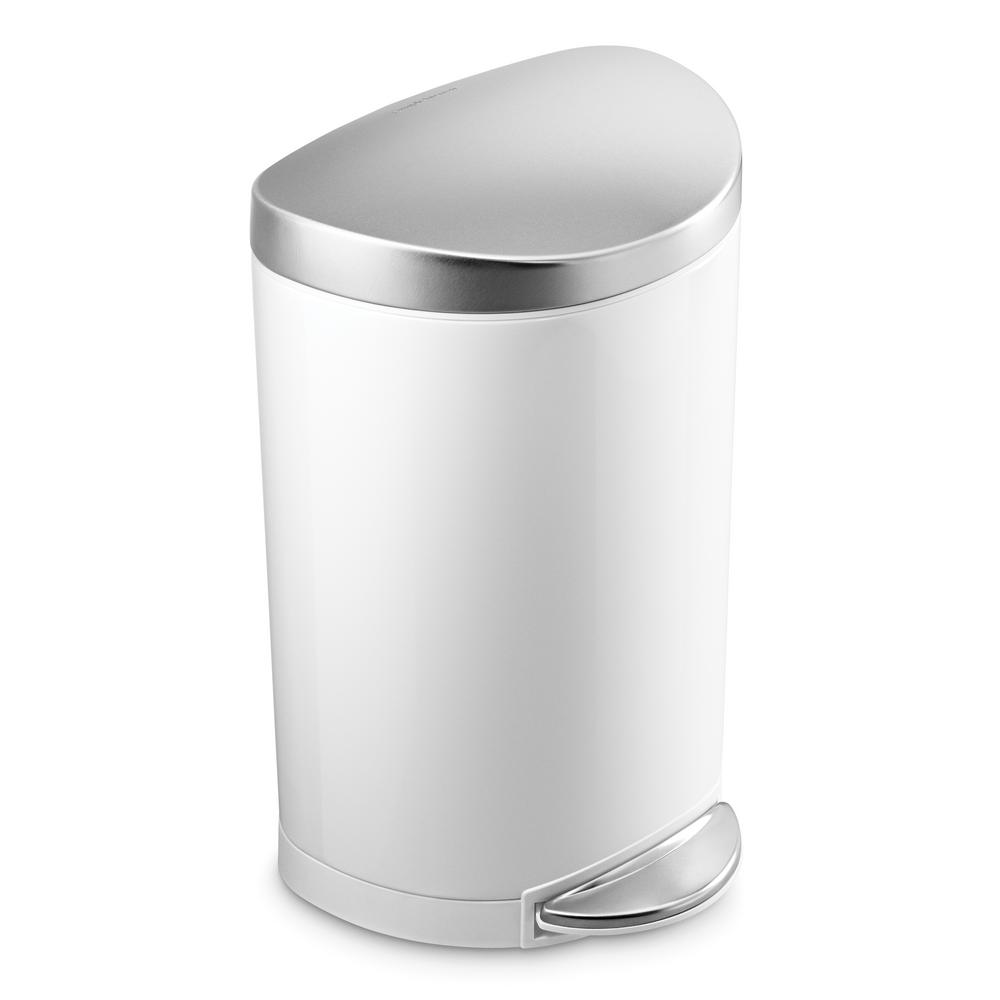 Simplehuman 10 Liter White Stainless Steel Semi Round Step On Trash Can With