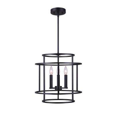 Luca 3-Light Matte Black Chandelier
