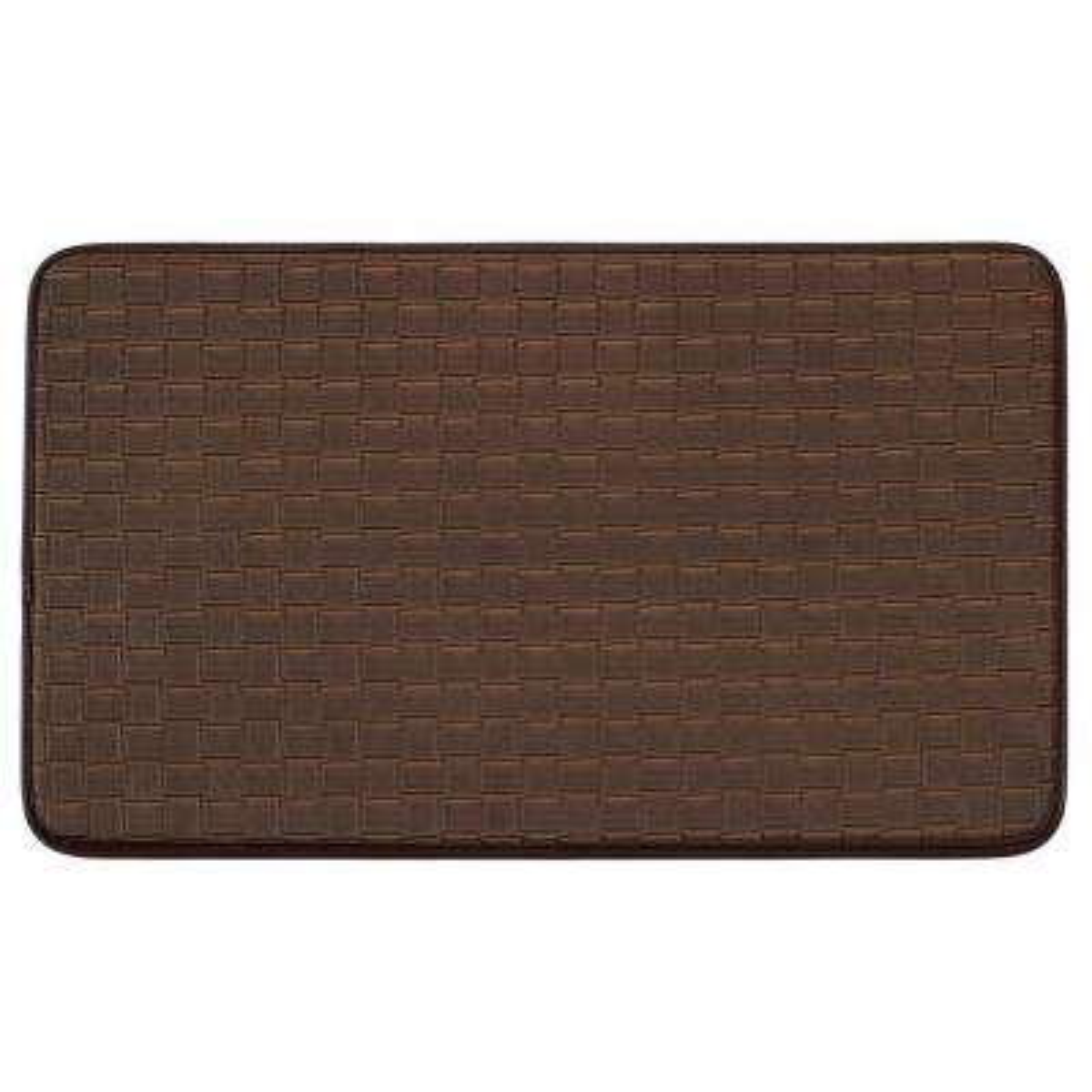 Basket Weave Faux-Leather Mocha 18 in. x 30 in. Comfort Kitchen Mat