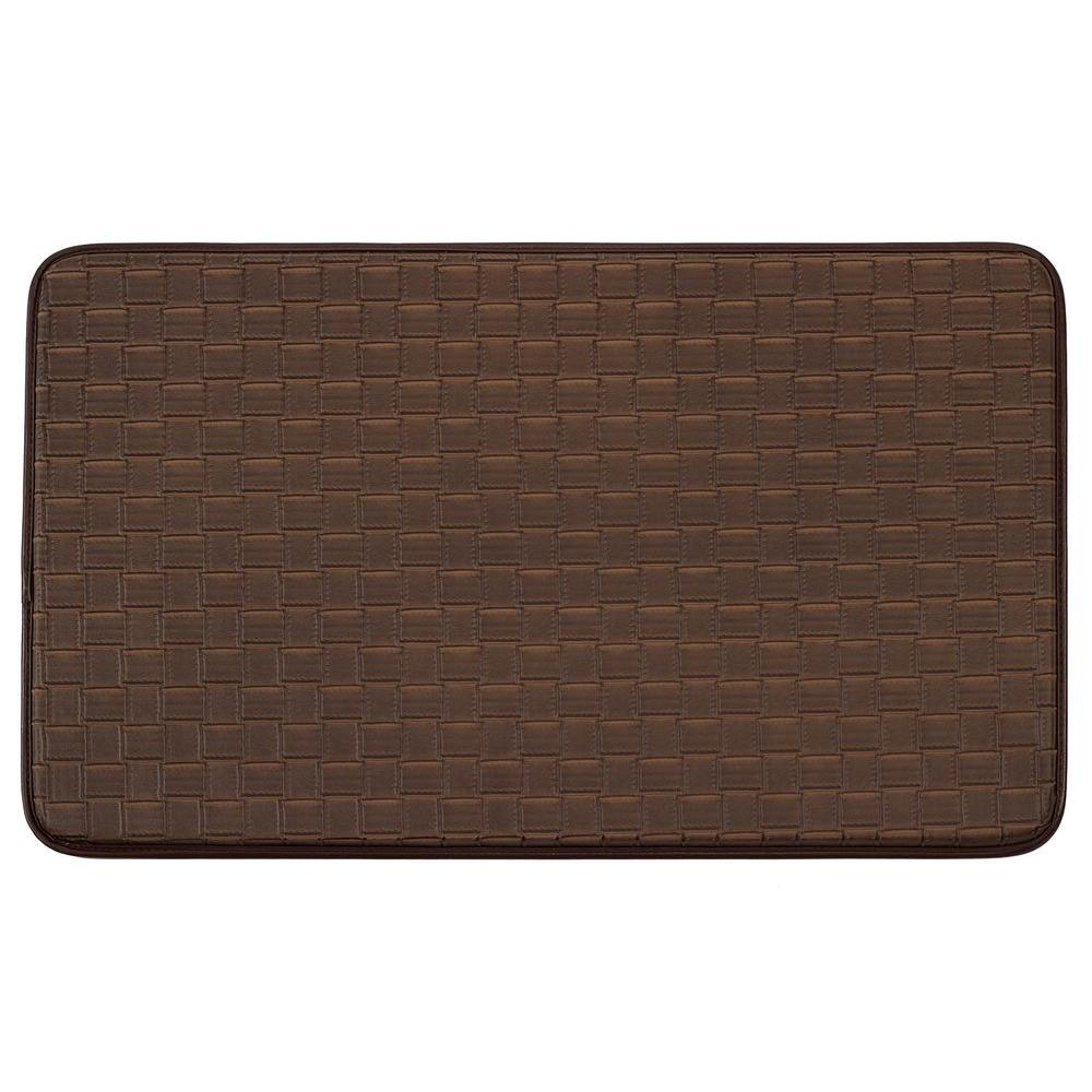 Basket Weave Faux-Leather Mocha 18 in. x 30 in. Comfort Kitchen