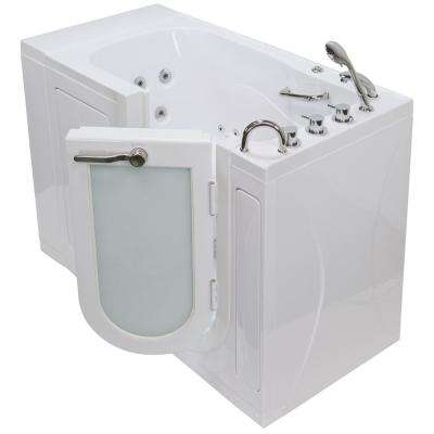 Monaco Acrylic 52 in. Walk-In Whirlpool Bath in White with 5 Piece Thermostatic Faucet Set and Right 2 in. Dual Drain