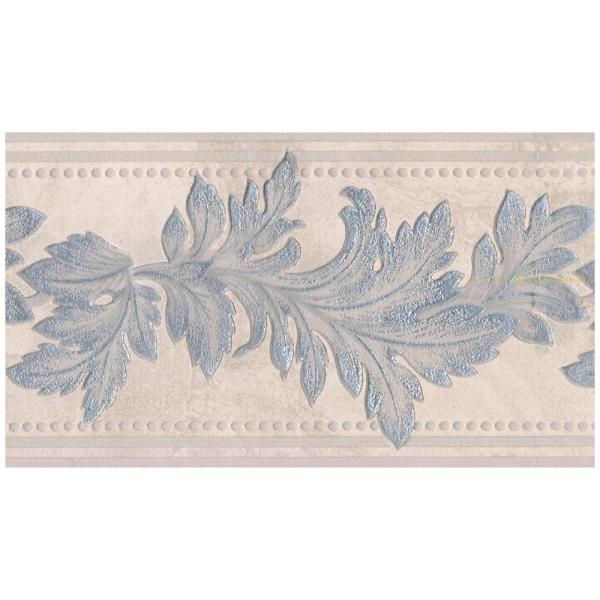 Silver Sparkling Damask Leaves On Beige Abstract Prepasted Wallpaper Border
