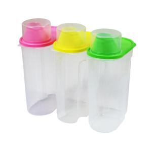 Large BPA-Free Plastic Food Saver, Kitchen Food Cereal Storage Containers with Graduated Cap (Set of 3) by