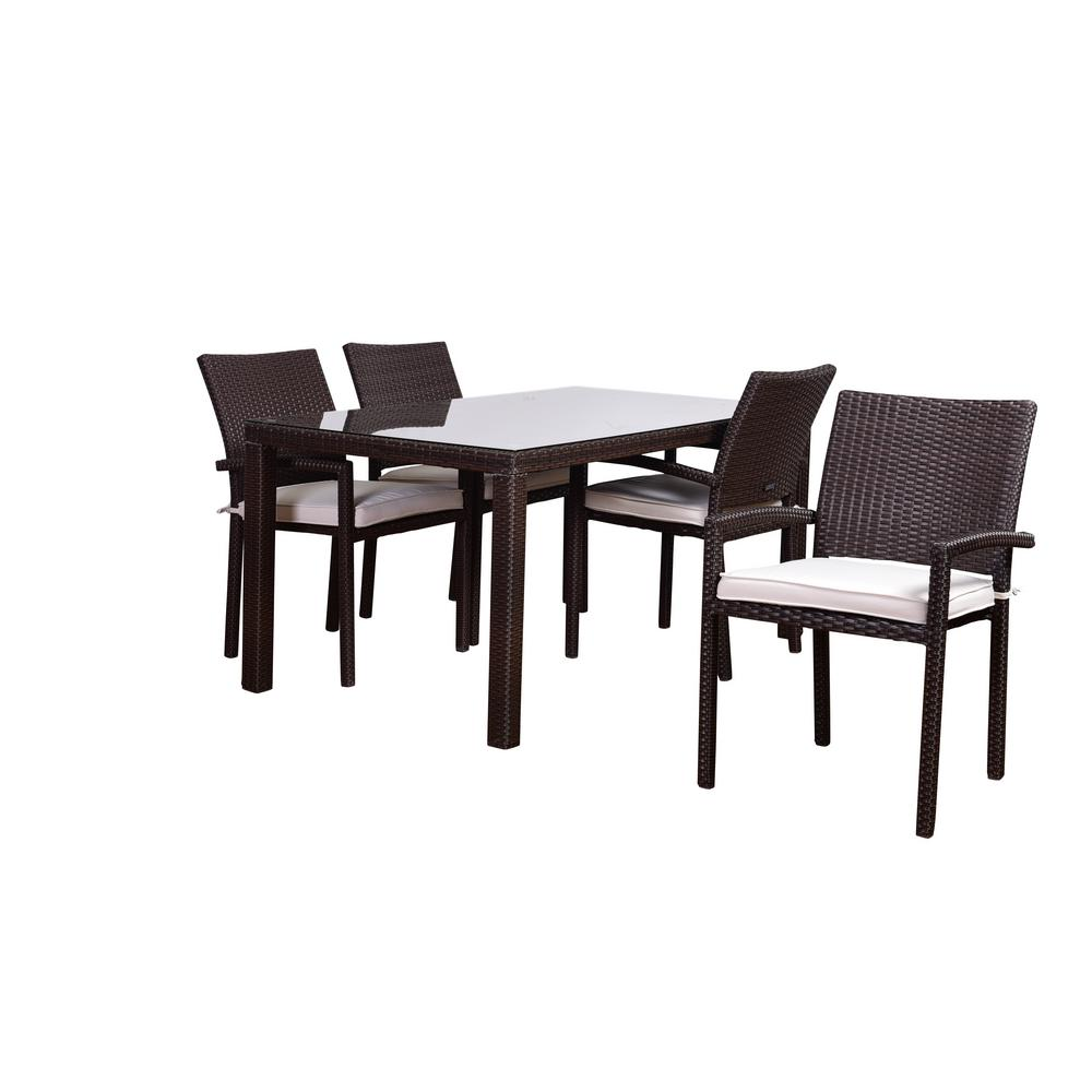 Liberty 5-Piece Synthetic Wicker Square Patio Dining Set with Off White