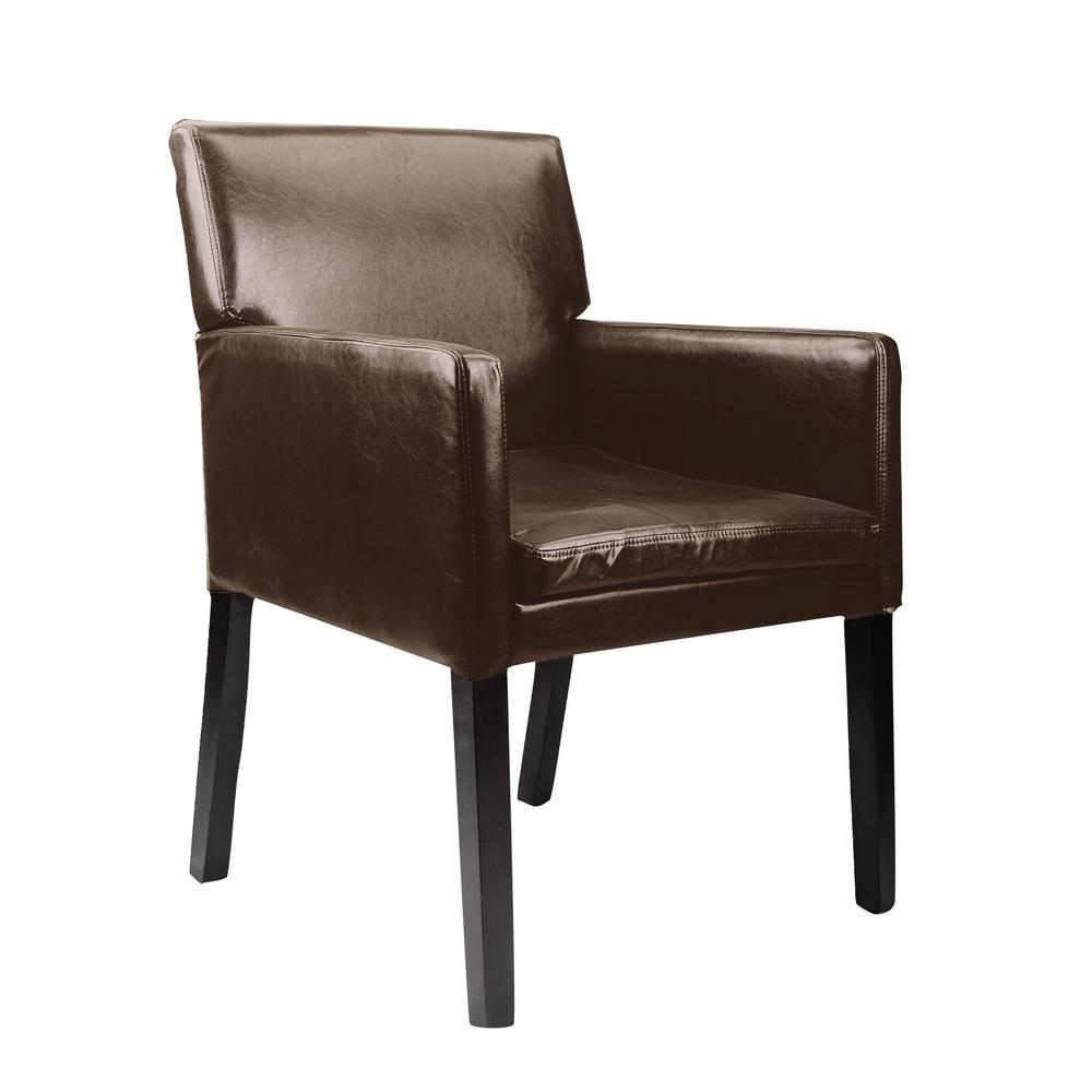 776069994832 Antonio Dark Brown Bonded Leather Accent Chair