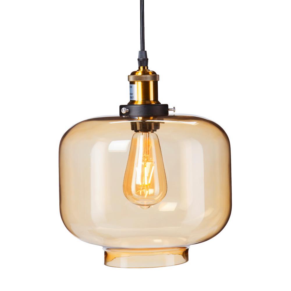 Danielle 1-Light Amber Colored Glass Pendant Lamp