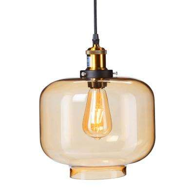 Danielle 1-Light Amber Colored Glass Pendant Lamp