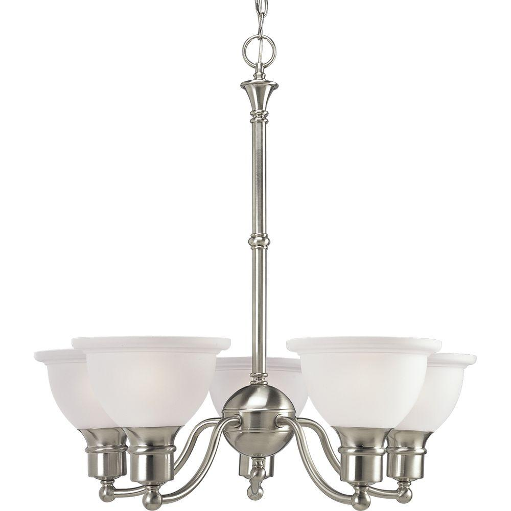 Progress Lighting Madison Collection 5 Light Brushed Nickel Chandelier With Etched Gl
