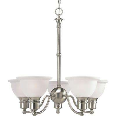 Madison Collection 5-Light Brushed Nickel Chandelier with Etched Glass