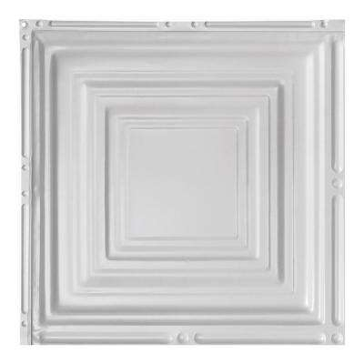 Syracuse Gloss White 12 in. x 12 in. Nail-Up Ceiling Tile Sample