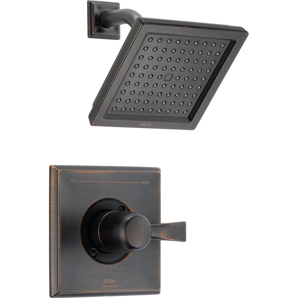 Delta Dryden 1 Handle Spray Raincan Shower Faucet Trim Kit In Venetian Bronze