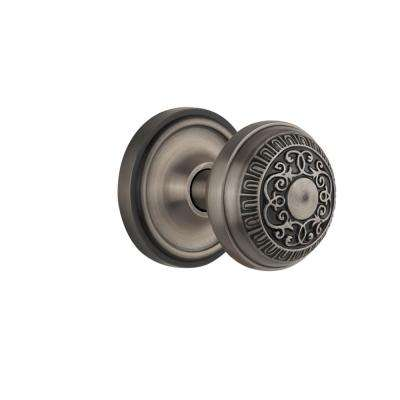 Classic Rosette 2-3/8 in. Backset Antique Pewter Passage Hall/Closet Egg and Dart Door Knob