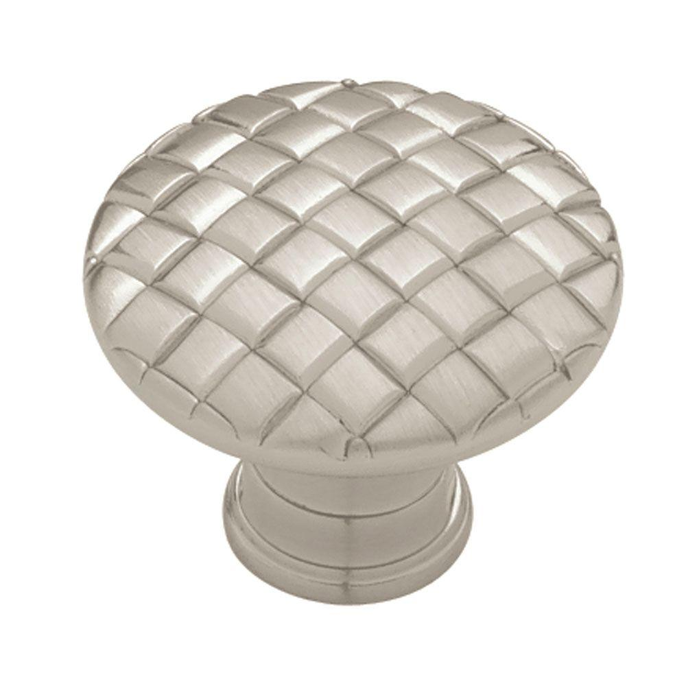 Basket Weave 1-1/8 in. (28mm) in. Satin Nickel Round Cabinet Knob