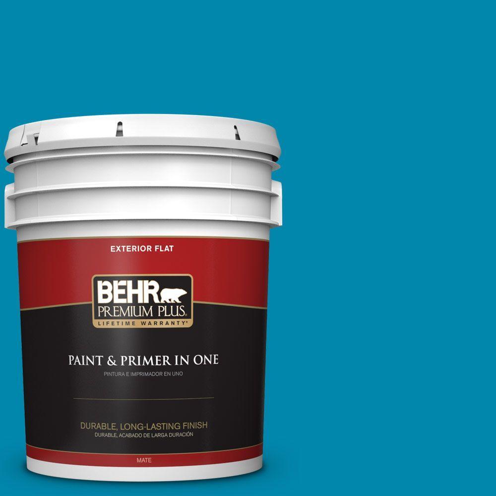 BEHR Premium Plus 5-gal. #P490-6 Hacienda Blue Flat Exterior Paint