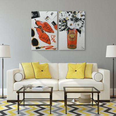 """""""Boss Lady and White Roses"""" Glitter High Resolution Graphic Art Print on Wrapped Canvas Wall Art"""