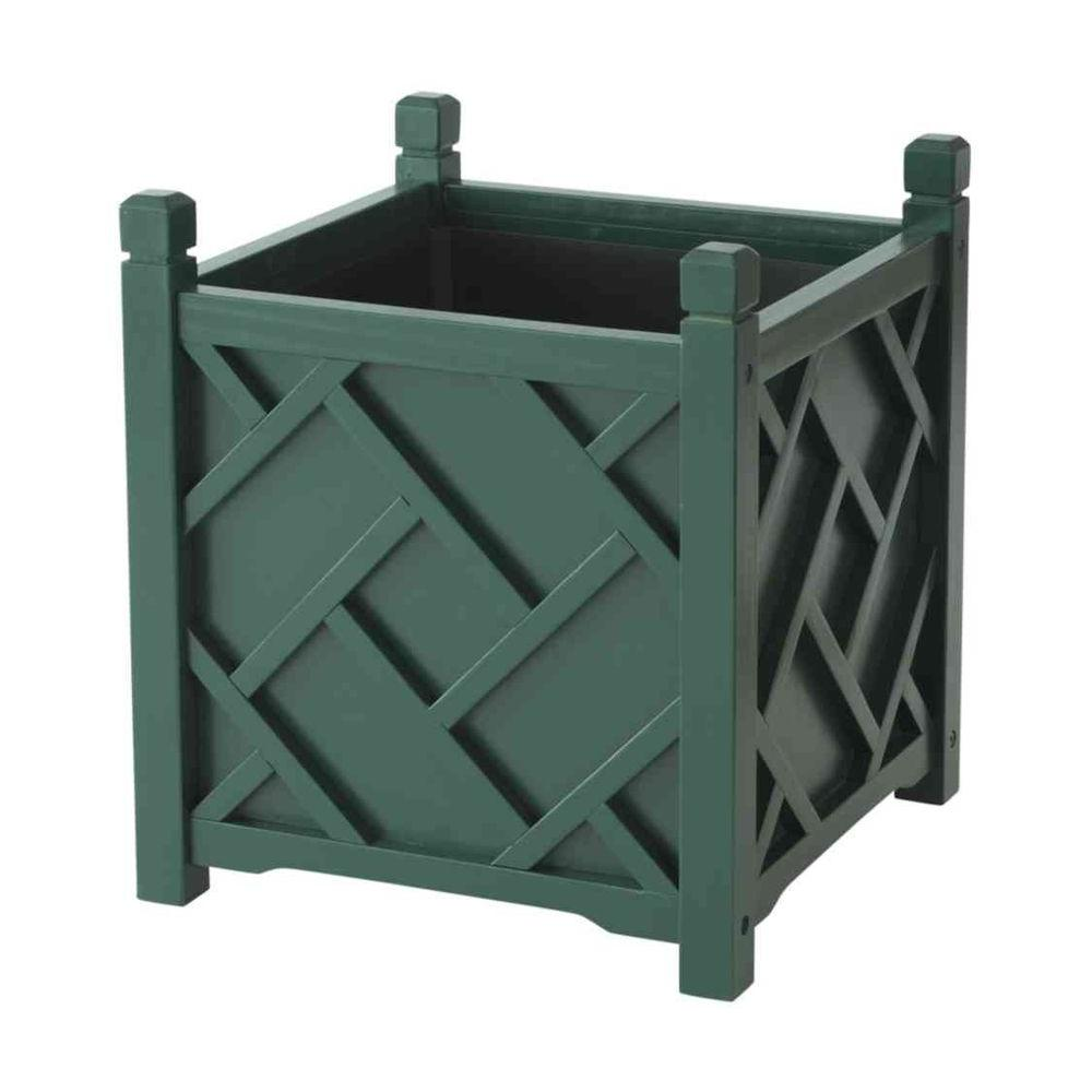 Dmc Chippendale 14 In Square Hunter Green Wood Planter