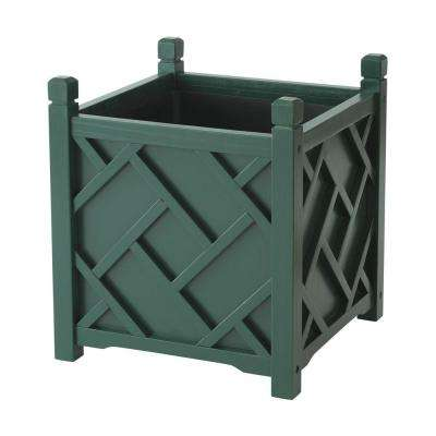 Chippendale 14 in. Square Hunter Green Wood Planter