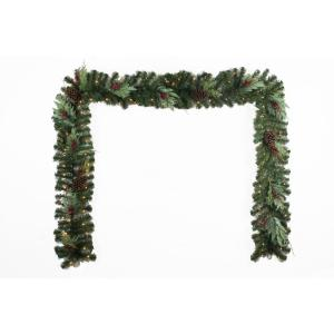 12 ft. Battery Operated Pre-Lit LED Woodmoore Artificial Christmas Garland