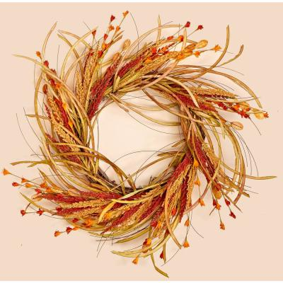 22 in. Fall Grass and Flower Wreath