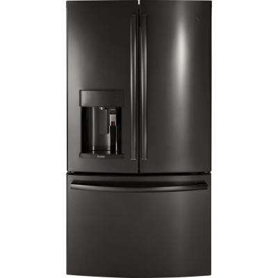 35.75 in. 22.2 cu. ft. Smart French Door Refrigerator with Keurig K-Cup and WiFi in Black Stainless Steel, Counter Depth