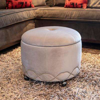 Wilmington Gray Upholstered Storage Ottoman with Wheels