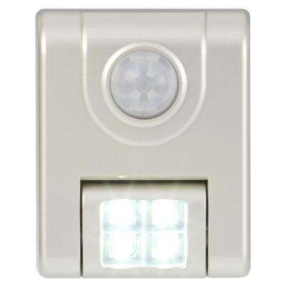 4-Light Silver Motion Sensor LED Light with Mounting Bracket