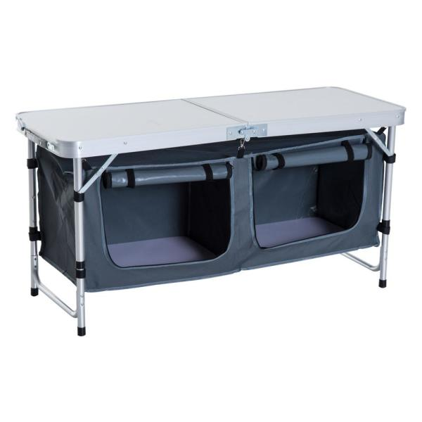 48 in. Aluminum Folding Camping Table with Carrying Handle And Storage Organizer