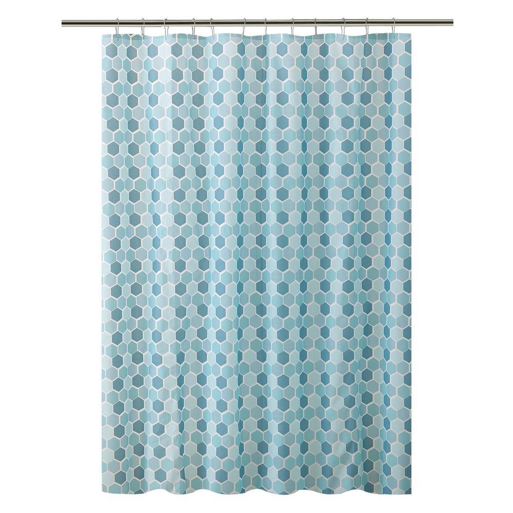 PEVA 70 in. x 72 in. Hexagon Design in Blue/White Shower Curtain