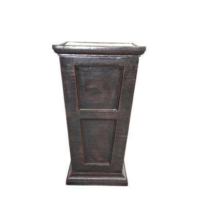 16 in. x 16 in. x 26.8 in. H Black/Bronze Fiberstone Planter