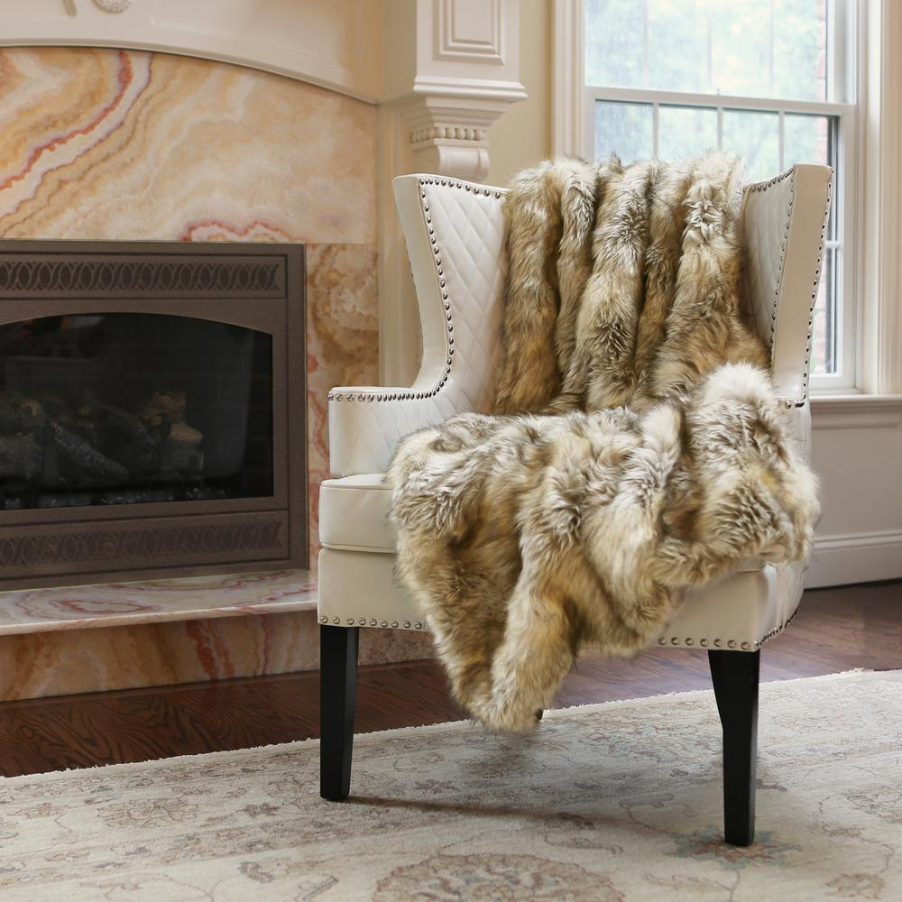 Best Home Fashion Wild Mannered 54 In X 36 Kitt Fox Faux Fur Throw The Depot