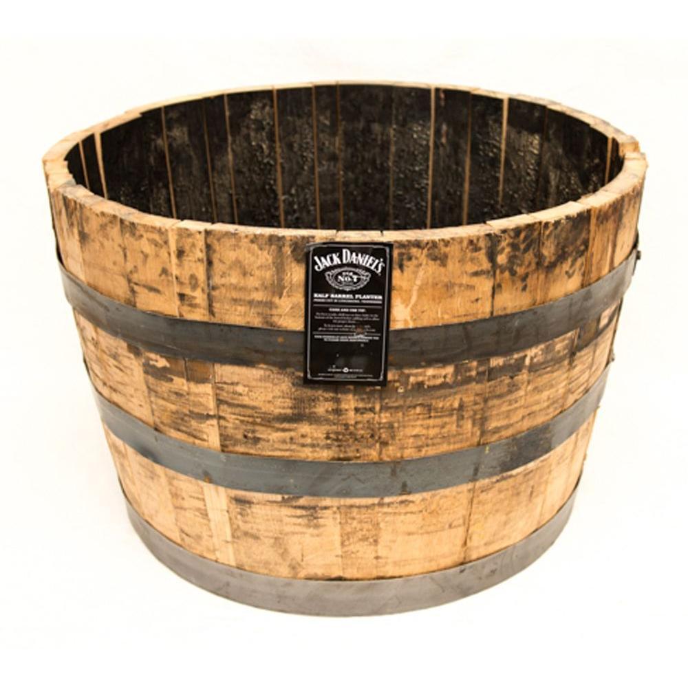 25 in. Dia Oak Wood Whiskey Barrel Planter