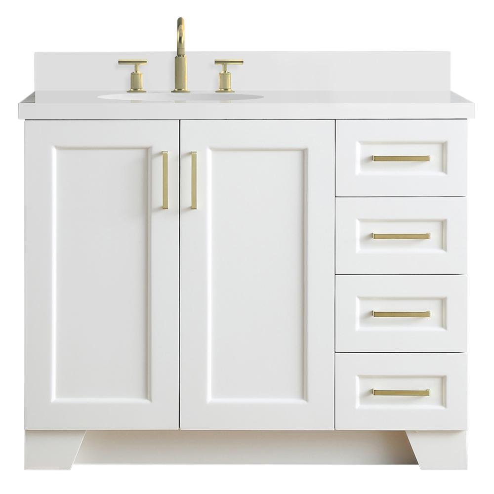 Ariel Taylor 43 in. W x 22 in. D Bath Vanity in White with Quartz Vanity Top in White with Left Offset White Oval Basin