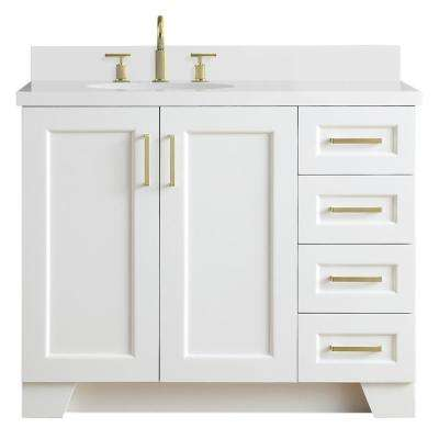 Taylor 43 in. W x 22 in. D Bath Vanity in White with Quartz Vanity Top in White with Left Offset White Oval Basin