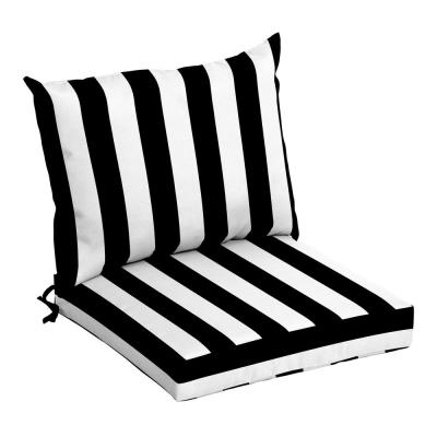 21 in. x 17 in. 2-Piece Deep Seating Outdoor Lounge Chair Cushion in Black Cabana Stripe